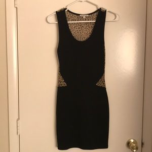 Black & Leopard fitted dress